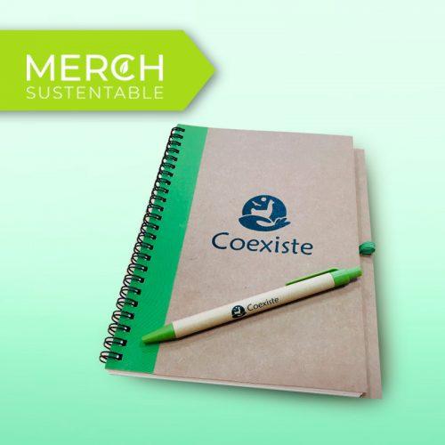 Cuaderno Ecológico y lápiz Coexiste